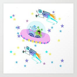 Outerspace Traffic Jam Art Print