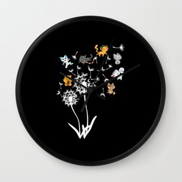 Dandelion Cats Funny Cat Design Gift cat lover Wall Clock
