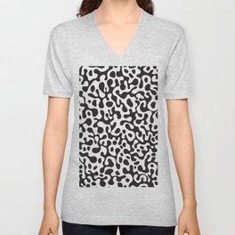Modern abstract black white animal print Unisex V-Neck