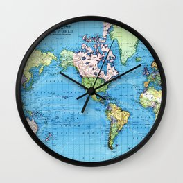 Mercator Map of Ocean Currents Wall Clock
