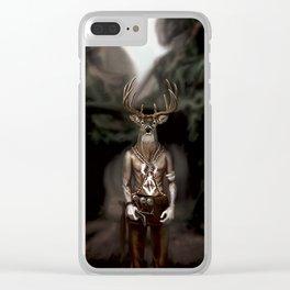 Skinwalker Navajo inspired shapeshifter with deer head Clear iPhone Case