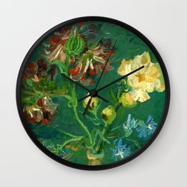 """Vincent Van Gogh """"Small Bottle with Peonies and Blue Delphiniums"""" Wall Clock"""