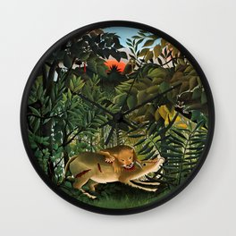 "Henri Rousseau ""A Lion Devouring its Prey"", 1905 Wall Clock"