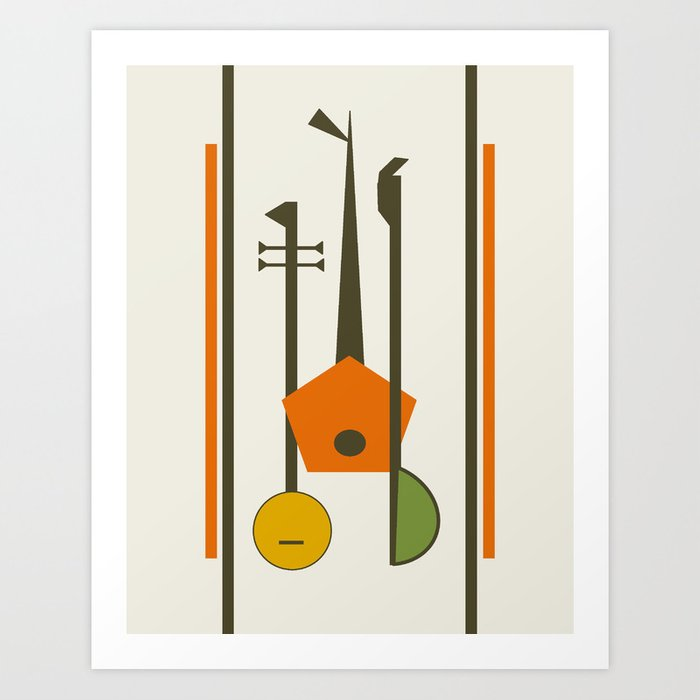 Mid Century Modern Art Musical Strings Art Print By Oldurbanfarmhouse