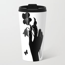 Black Hand Holding Flowers Travel Mug