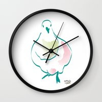 pigeon Wall Clocks featuring Pigeon by 1 monde à part