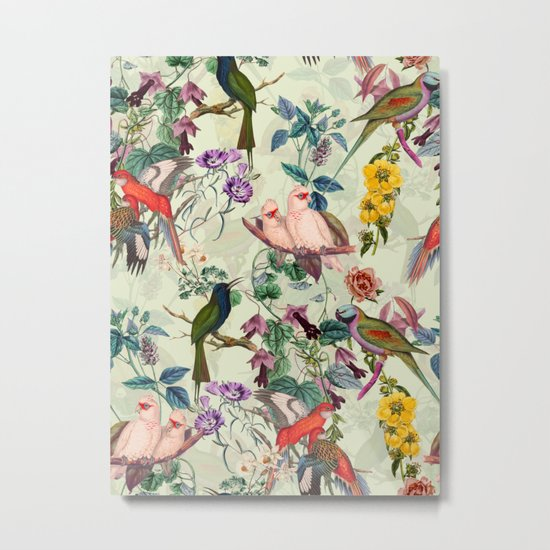 Floral and Birds VIII Metal Print