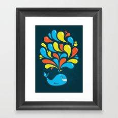 Dark Colorful Happy Cartoon Whale Framed Art Print