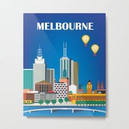 Melbourne, Australia - Skyline Illustration by Loose Petals Metal Print