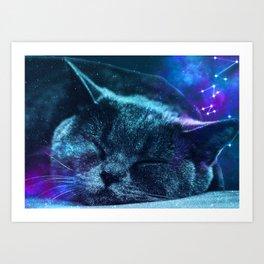 Sleepy Galaxy Cat Art Print