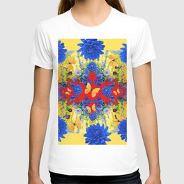 YELLOW GARDEN BLUE  FLOWERS YELLOW BUTTERFLIES PATTERN ART T-shirt