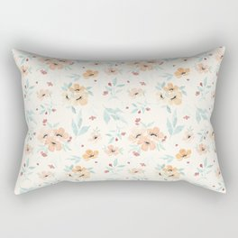 Peach and Pink Poppies Seamless Pattern Rectangular Pillow