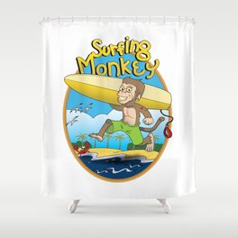 Surfing Monkey Shower Curtain