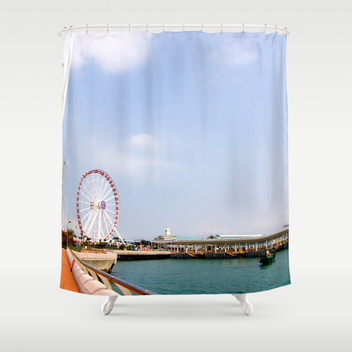 Hong Kong pier Shower Curtain