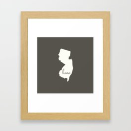 New Jersey is Home - White on Charcoal Framed Art Print