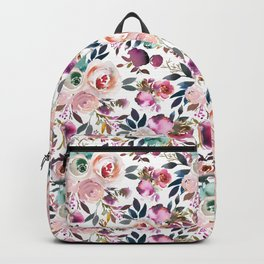 Hand painted blush pink purple watercolor floral Backpack