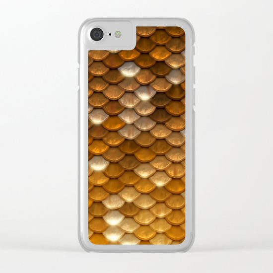 Gold glitter mermaid sparkling scales Clear iPhone Case