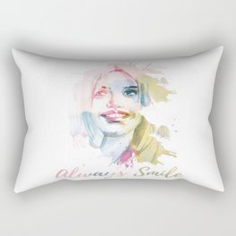 Always smile! Hand-painted portrait of a woman in watercolor. Rectangular Pillow