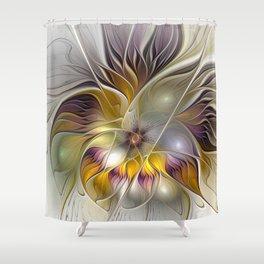 Abstract Fantasy Flower Fractal Art Shower Curtain