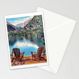 'Sit & Breathe' Adirondack Chair Original Art - Mountain Lake Wall Decor Stationery Cards