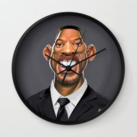 celebrity Wall Clocks featuring Celebrity Sunday ~ Will Smith by rob art | illustration