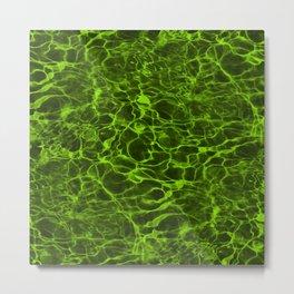 Neon Green Underwater Wavy Rippling Water Metal Print