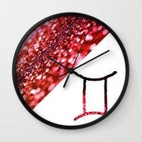 gemini Wall Clocks featuring Gemini by haroulita