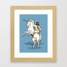 Jesus Riding Unicorn Framed Art Print