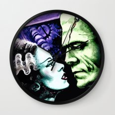 Bride of Frankenstein Monsters in Love Wall Clock