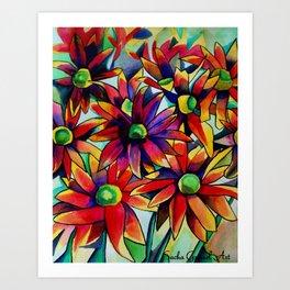 Rainbow daisies watercolour fine art Art Print