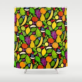 Fruit Salad Dessert (on Black) Shower Curtain