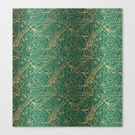 Gold and Green Tangle Pattern Canvas Print