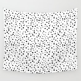 PolkaDots-Black on White Wall Tapestry