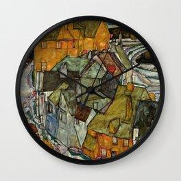 "Egon Schiele ""Crescent of Houses II (Island Town)"" Wall Clock"