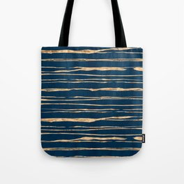 Messy Stripes on Prussian Blue Tote Bag