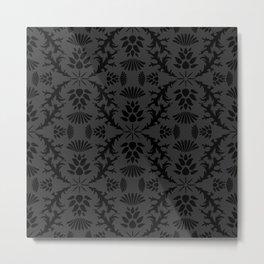 Black Thistle Damask Metal Print