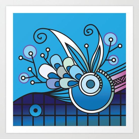 Ornate square zentangle, Ultramarine Blue Art Print