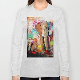 African Elephant Family Painting Long Sleeve T-shirt