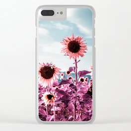 Pink Sunflowers Clear iPhone Case