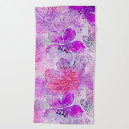 Pink Purple Watercolor Painted Flower Mix Beach Towel