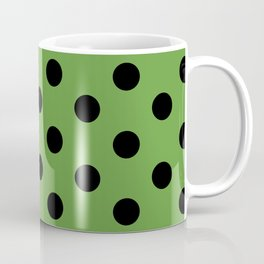 Black & Green Polka Dots Coffee Mug