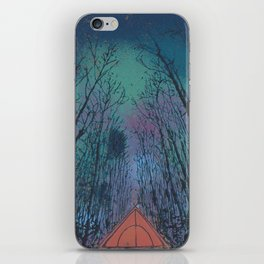 Camp Vibes Screenprint of Tent Under the Stars iPhone Skin