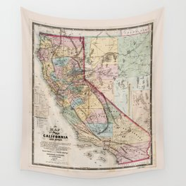 Map of the State of California (1867) Wall Tapestry