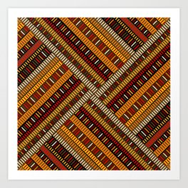 Doodle african pattern with geometric motifs Art Print