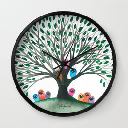 Minnesota Whimsical Owls in Tree Wall Clock