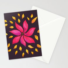 Whimsical Watercolor Floral Pattern In Pink And Purple Stationery Cards