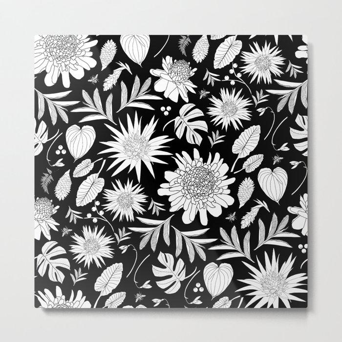 TROPICAL FLORAL BLACK & WHITE Metal Print