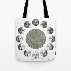 the moon's cycle on white Tote Bag