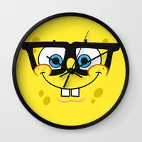 spongebob Wall Clocks featuring Spongebob Nerd Face by Cute Cute Cute