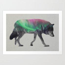 Wolf In The Aurora Borealis Art Print
